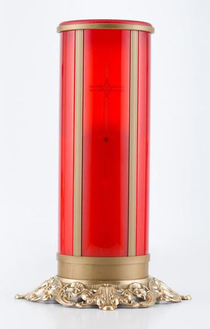 red electric flameless LED battery operated memorial candle with cross