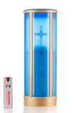 blue pillar memorial candle with cross and separate remote control