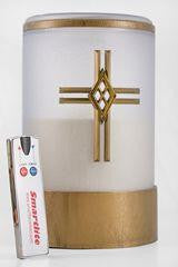 White Flameless Electric Battery Operated LED Catholic Candle with remote