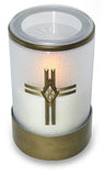 White Flameless Electric Battery Remote Operated LED Catholic Candle