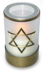 White flameless LED battery operated electric battery Shiva candle with Star of David