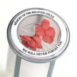 personalized circular label for memorial chamber