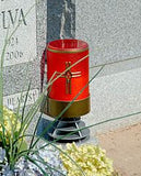 red LED pillar candle with cross side Mounted to gravestone