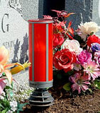 red LED battery operated pillar candle with anchor graveside
