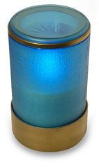 Blue Flickering Electric Battery Operated LED Catholic Candle with Remote