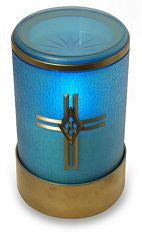 Blue flameless LED battery operated electric graveside candle