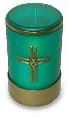 green flameless LED battery operated electric candle with cross