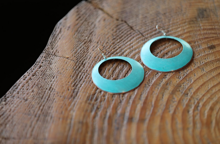 Blue + Copper Earrings