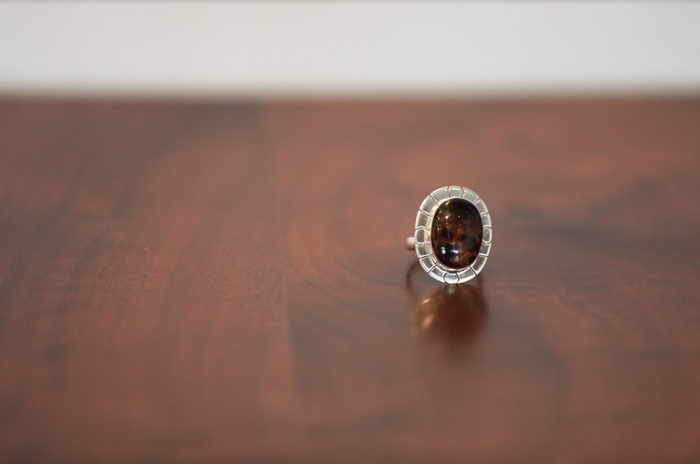 Amber Lines Silver Ring