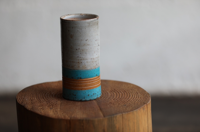 Turquoise + Orange Carved Vase