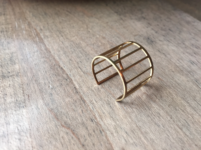Orbit Lines Brass Ring