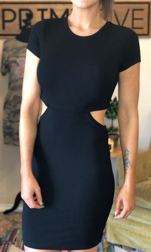 Black Cut Out Ribbed Bodycon Dress