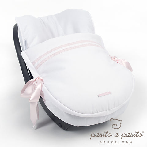 Atelier Baby Car Seat Cover - White/Pink - Amelia loves - 1