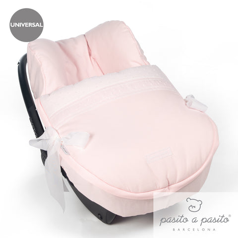 Saint Honore Universal Baby Car Seat Cover & Hood - Pink - Amelia loves - 1