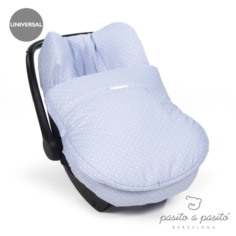Atelier Baby Car Seat Cover Blue Polka Dot - Amelia loves - 1
