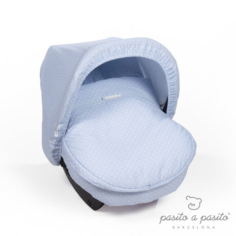 Atelier Car Seat Cover Hood - Blue Polka Dot - Amelia loves
