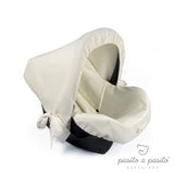COTTON Baby Car Seat Hood - Beige