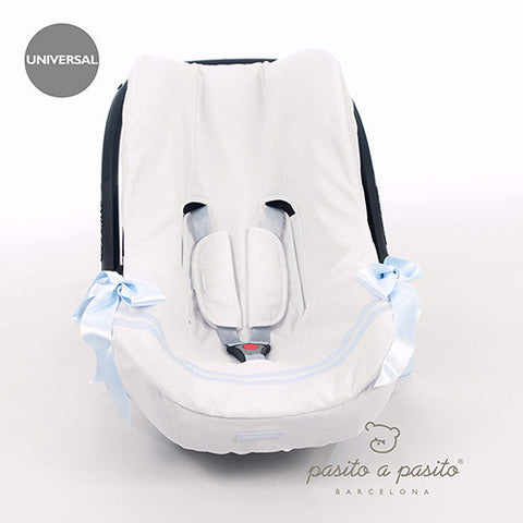 Atelier Baby Car Seat Liner White/Blue - Amelia loves - 1