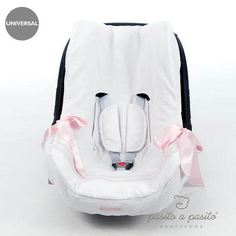 Atelier Baby Car Seat Liner White/Pink - Amelia loves - 1
