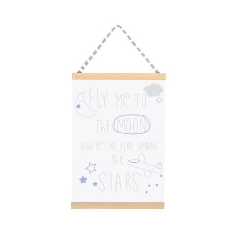 Fly me to the Moon Wall Art - Blue