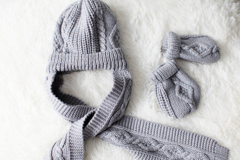 Baby's Grey Knit Hat and Mittens Set
