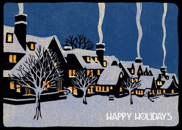 Snowy Houses Holiday Card Set