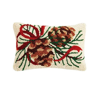 Pinecone Hooked Wool Pillow