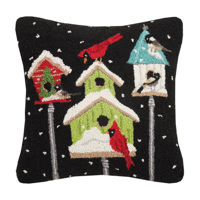 Cardinal Bird Houses Hooked Wool Pillow