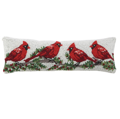 Cardinal Hooked Wool Pillow