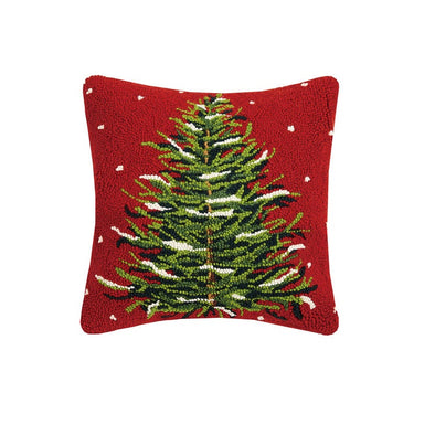 Christmas Tree Hooked Wool Pillow