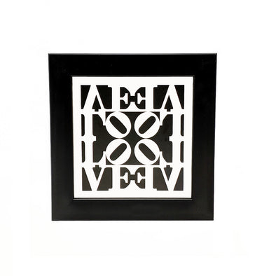 Robert Indiana Black and White Love Framed Mini Print