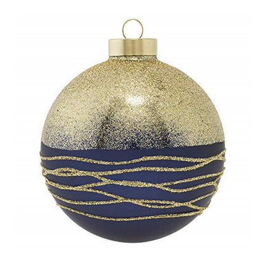 Blue & Gold Glittery Round Ornament