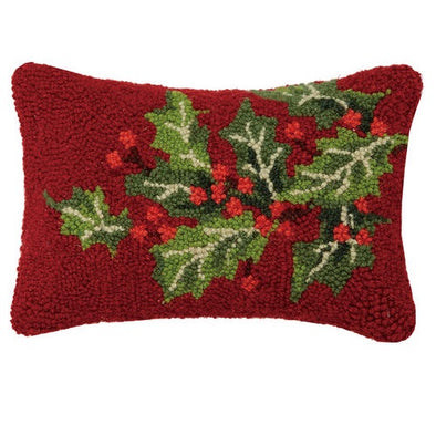 Holly Berry Hooked Wool Pillow