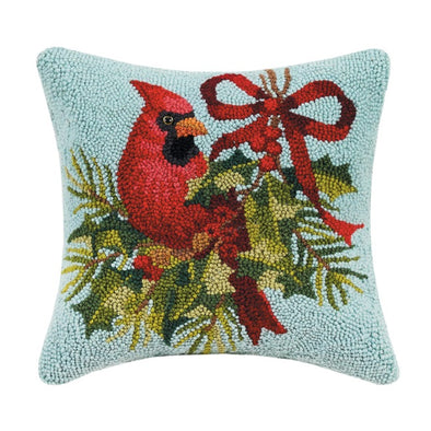 Holly Cardinal Hooked Wool Pillow