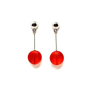 Frosted Glass Dot Earrings