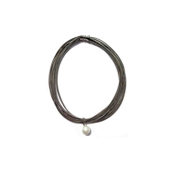 Pearl Piano Wire Necklace - Slate