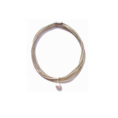 Pearl Piano Wire Necklace - Silver