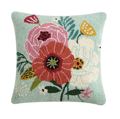 Chic Blooms Hooked Pillow