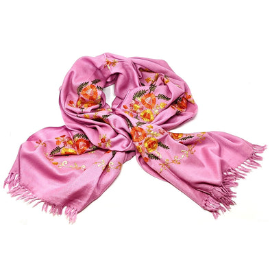 Flowers & Ferns Embroidered Shawl - Pink