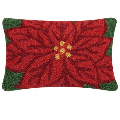 Poinsettia Hooked Wool Pillow