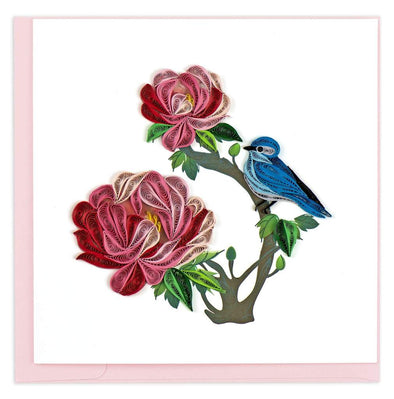 Peony and Bluebird Quilling Card