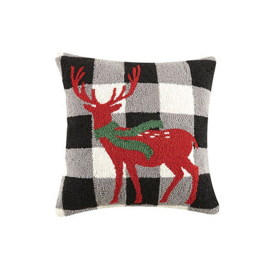 Reindeer with Scarf Hooked Wool Pillow