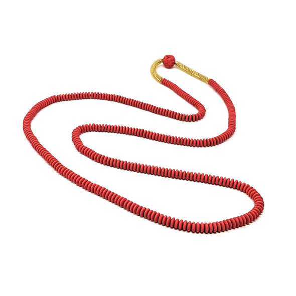 Red Rubber & Lava Bead Necklace