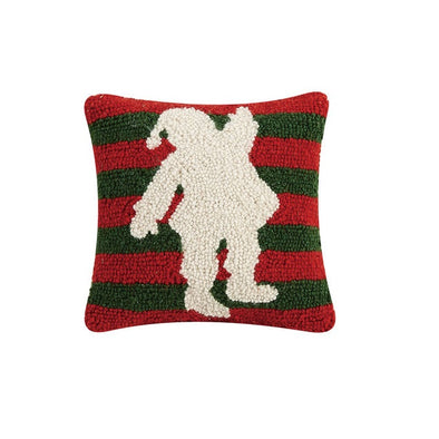 Santa Stripes Hooked Wool Pillow
