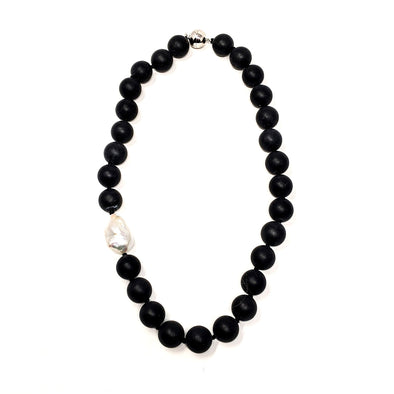 Matte Black Onyx with Keisha Pearl Necklace