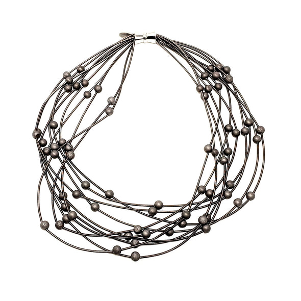 10 Layer Piano Wire Necklace with Slate Geodes