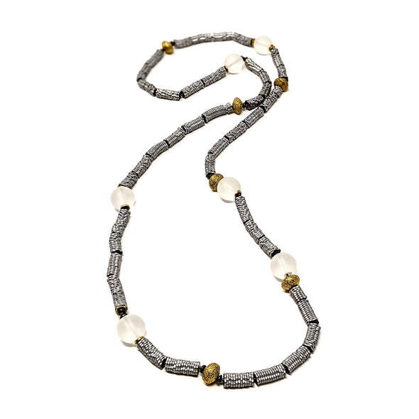 Long Hematite Necklace with Frosted Glass Beads