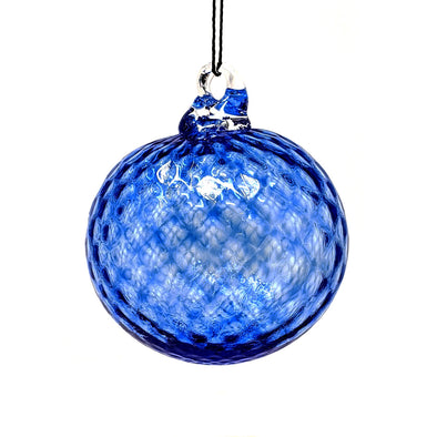 Shawn Everette Handmade Glass Ball Ornament - Textured Blue