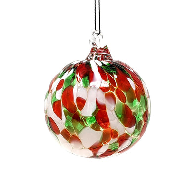 Shawn Everette Handmade Glass Ball Ornament - Red & Green