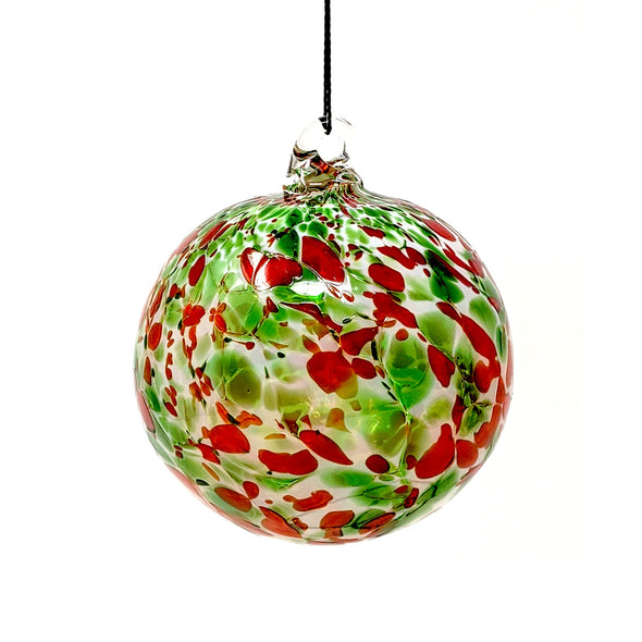 Shawn Everette Handmade Glass Ball Ornament - Speckled Red & Green